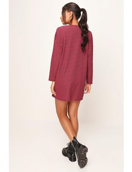 Burgundy Stripe Ribbed Oversize Tshirt Dress by I Saw It First