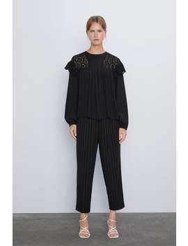 刺繡裝飾拼接罩衫 by Zara