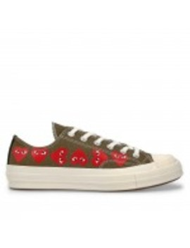 Play Comme Des Garçons Converse Multi Red Heart Chuck Taylor All Star '70 Low  (Khaki) by Dover Street Market