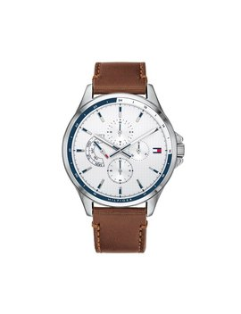 Tommy Hilfiger Men's 46.3mm Shawn Leather Watch   White by Tommy Hilfiger