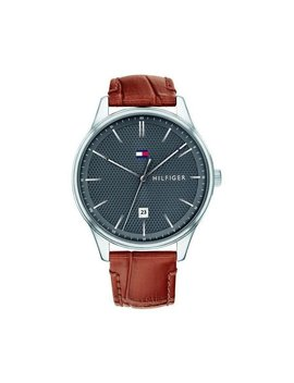 Tommy Hilfiger Men's 44mm Damon Leather Watch   Grey/Brown by Tommy Hilfiger