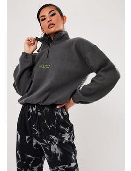 Grey Fleece Zip Sweatshirt by Missguided