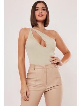 Sand Rib Asymmetric Cut Out Knitted Bodysuit by Missguided