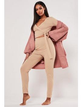 Camel Wrap Long Sleeve Legging Loungewear Set by Missguided