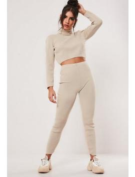 Beige Ribbed Roll Neck Legging Co Ord Set by Missguided