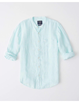 Banded Collar Icon Linen Shirt by Abercrombie & Fitch