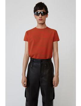 T Shirt Mit Wirbel Print Tomato Orange/Oil Yellow by Acne Studios