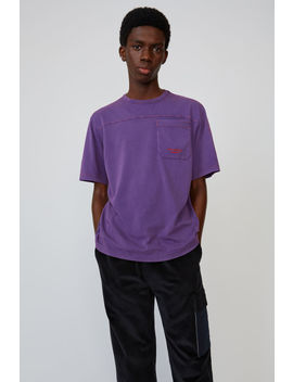 T Shirt In Lockerer Passform Purple by Acne Studios
