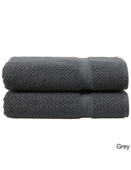 Authentic Hotel And Spa Herringbone Weave Turkish Cotton Bath Towel (Set Of 2)   Charcoal Grey by Authentic Hotel And Spa