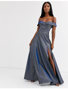 Goddiva Sweetheart Neck Maxi Dress With Leg Split In Winter Blue by Goddiva