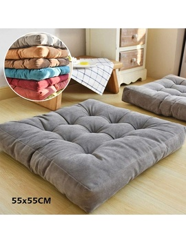 Large 55 Cm Corduroy Chair Pad Tatami Floor Cushion Solid Square Seat Cushion Tufted Thicken Pillow Seat  by Wish