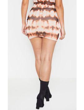 Brown Tie Dye Mesh Printed Mini Skirt by Prettylittlething