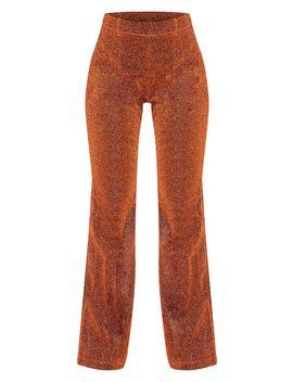 Rust Glitter Sheer Flared Leg Trouser  by Prettylittlething