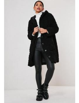 Petite Black Hooded Borg Teddy Coat by Missguided