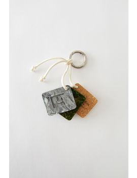 Dreieckiger Schlüsselring Schwarz Weiß by Acne Studios