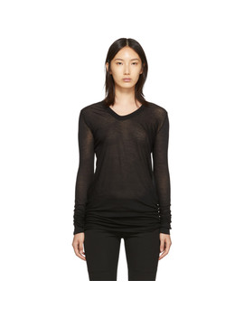 Black V Neck Long Sleeve T Shirt by Rick Owens