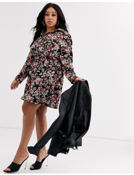 Boohoo Plus Button Through Skater Shirt Dress In Black Floral by Boohoo