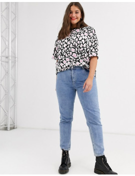 Asos Design Curve Oversized T Shirt In Neon Animal Print by Asos Design