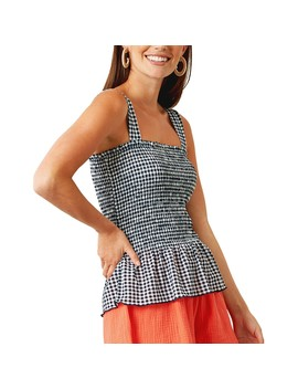 &Me Women's Gingham Print Shirred Top   Multi by &Me