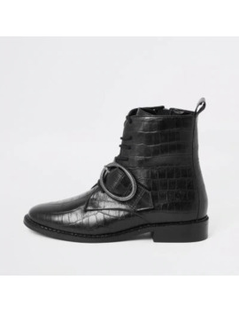 Black Croc Circle Buckle Lace Up Boots by River Island