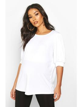 Maternity Puff Sleeve Rib Tee by Boohoo