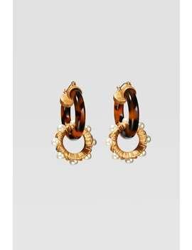 Boucles D'oreilles À Anneaux Effet Écaille Et Perles D'imitation Édition LimitÉe by Zara