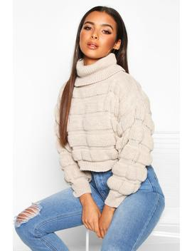 Bubble Knit Turtle Neck Jumper by Boohoo