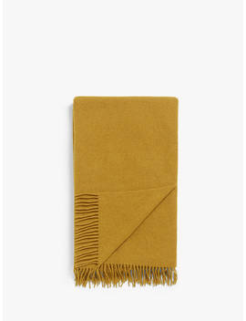 John Lewis & Partners Plain Wool Throw, Mustard by John Lewis & Partners