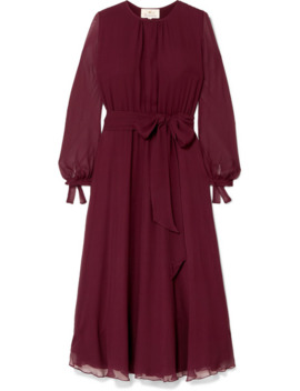 Amanda Belted Silk Georgette Midi Dress by A Ross Girl X Soler