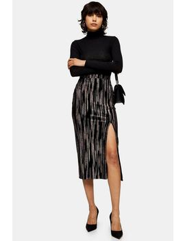 Black Velvet Glitter Midi Skirt by Topshop