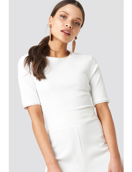 Ribbed Round Neck Cropped Top White by Na Kd