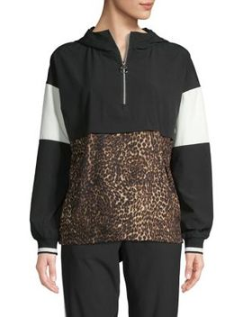 Leopard Printed Half Zip Pullover Jacket by Calvin Klein Performance