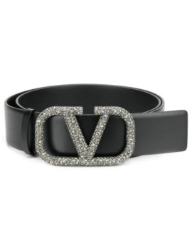 Valentino Garavani V Ring Crystal Embellished Buckle Belt by Valentino