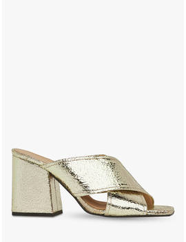 Whistles Ayres Cross Strap Leather Heel Sandals, Gold by Whistles