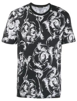T Shirt Mit Wellen Print by Versace