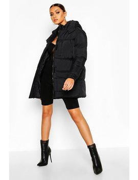 Belted Pocket Detail Padded Coat by Boohoo