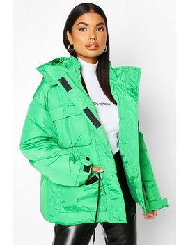 Petite Double Pocket Drawstring Padded Jacket by Boohoo