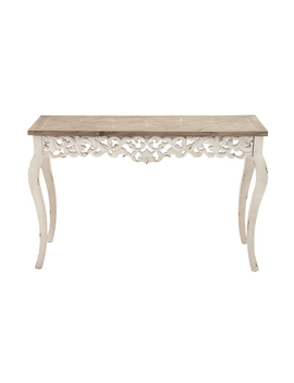 Decmode Traditional Carved Wooden Console Table, White by Dec Mode