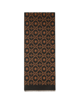 Brown & Grey Jacquard Bees & Stars Gg Scarf by Gucci