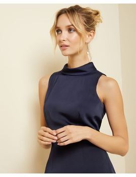 Satin Crepe Mock Neck Cocktail Dress by Rw & Co