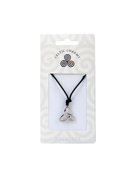 Celtic Charm Silver Triquetra Trinity Knot Charm Black Cord Necklace Gift by Ebay Seller