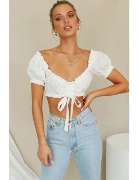 Design Details Ruched Crop // White by Vergegirl