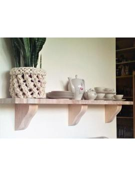 Massive Wood Brackets, One Pair, Natural Color, Shelf Bracket by Etsy