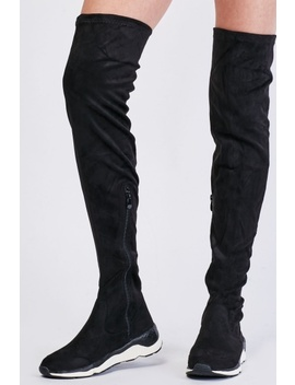 Suedette Knee High Trainers Boots by Everything5 Pounds