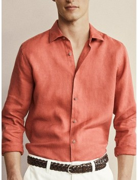 Slim Fit Dyed 100% Linen Shirt by Massimo Dutti