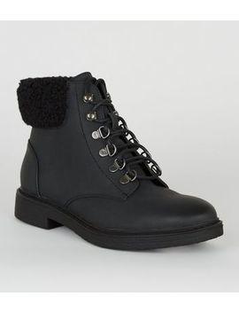 Girls Black Teddy Trim Lace Up Boots by New Look