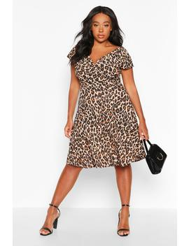 Plus Curve Leopard Off Shoulder Wrap Midi Skater Dress by Boohoo