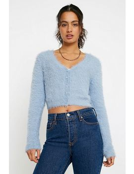 Uo Fluffy Button Through Cardigan by Urban Outfitters