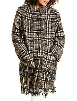 Marina Ribaldi Tartu Fringe Check Coat by Marina Rinaldi