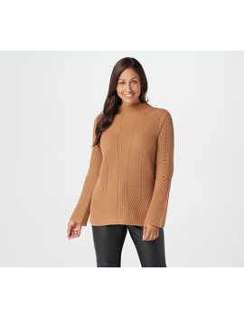 Lisa Rinna Collection Cable Knit Long Sleeve Sweater by The Lisa Rinna Collection